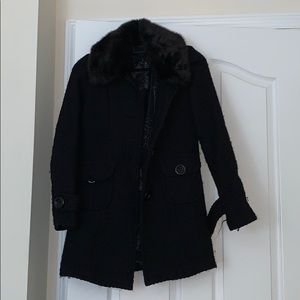 Black Peacoat with faux fur